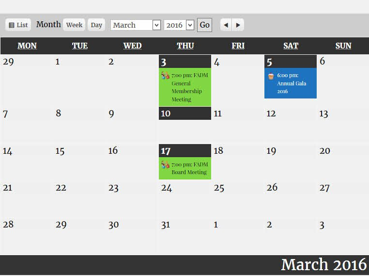 Calendar for March