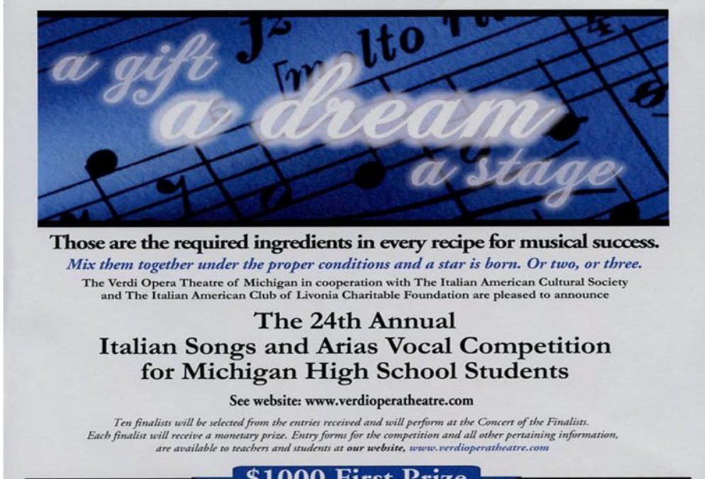 24th ANNUAL ITALIAN SONGS AND VOCAL COMPETITION FOR MICHIGAN HIGH SCHOOL STUDENTS