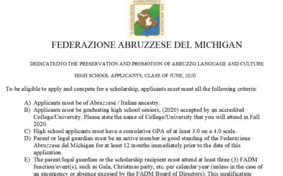 2020 Scholarship Application – High School Student