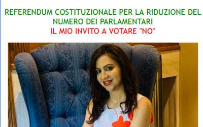 """REFERENDUM COSTITUZIONALE PER LA RIDUZIONE DEL NUMERO DEI PARLAMENTARI IL MIO INVITO A VOTARE """"NO"""""""