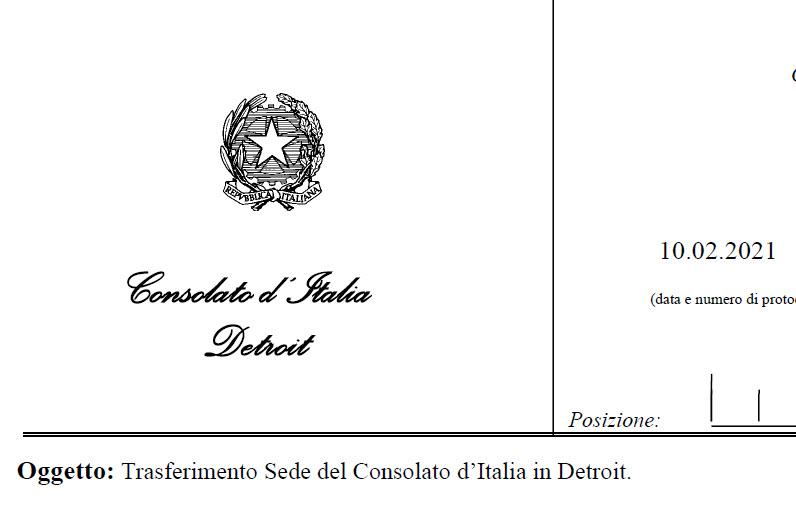 Trasferimento Sede del Consolato d'Italia in Detroit.