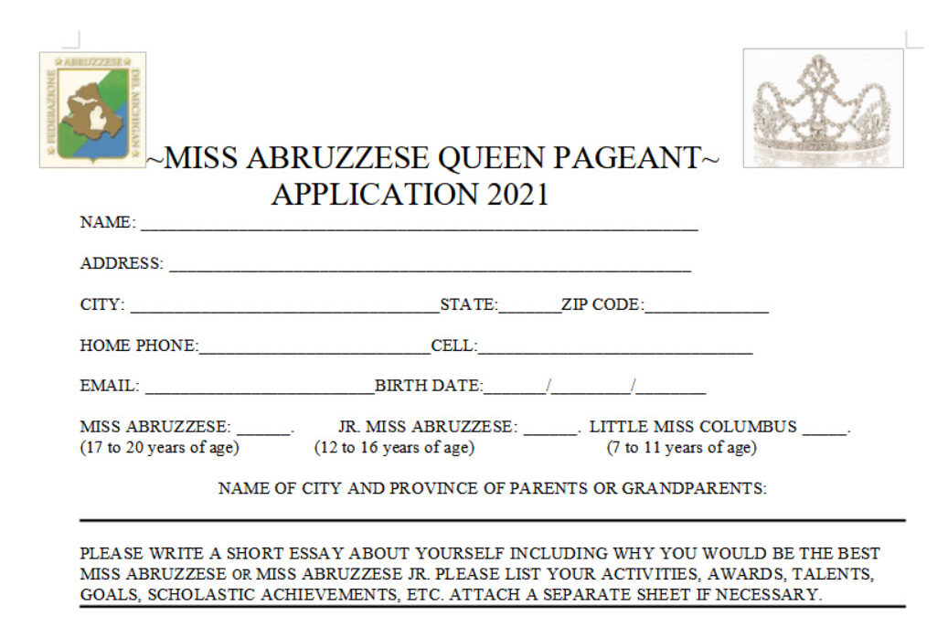 MISS ABRUZZESE QUEEN PAGEANT APPLICATION 2021