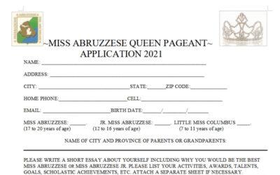 MISS ABRUZZESE QUEEN PAGEANT APPLICATION 2021